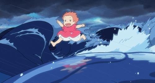 Ponyo runs along the crest of a magical tsunami