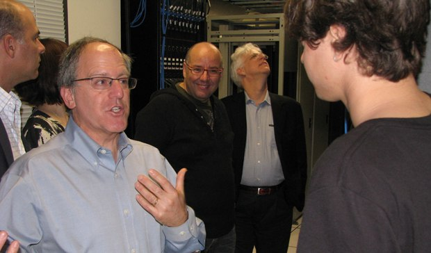 Sony PR master Jerry Schmitz shows the nominees the server room.
