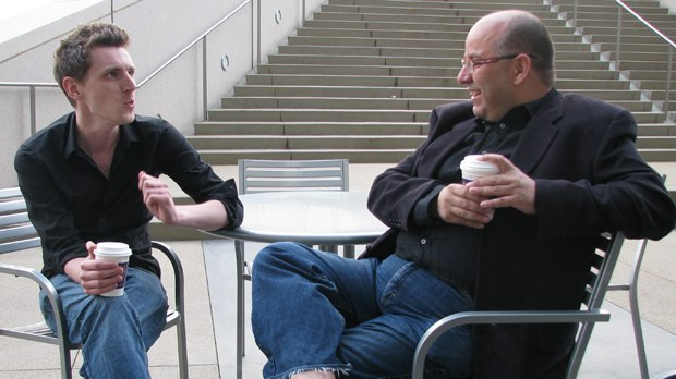Granny O'Grimm's director Nicky Phelan and The Lady and the Reaper producer Raul Garcia chat over coffee.