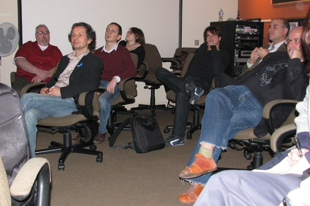 The tour listens to a demo on the visual development of How to Train Your Dragon.