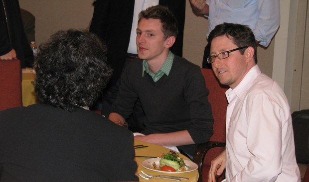 Nicky has lunch with DreamWorks development exec Chris Kuser (r).