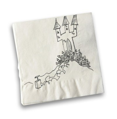 Kirk Wise captures the explosive situation surrounding the Castle on a napkin.