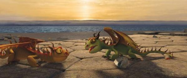 Initially, the main dragon character 'Toothless' was one of these cute cuddly little dragons. He was replaced with a mid-sized, rideable black dragon, but happily, they allowed these little guys a cameo in the film. They are great characters!