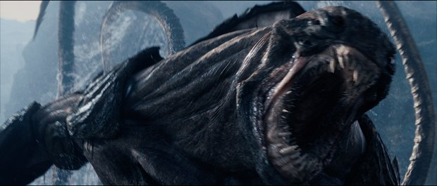 MPC tackled the Kraken as a dinosaur-like sea monster with an enormous volume of water cascading off its body parts.