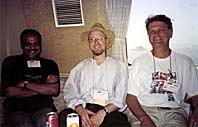 Left to right: Animators Prakash S. Moorthy, Dave Brunskill and Clive Walley in Hiroshima, Japan. August, 1998.Photo by Ron Diamond. © AWN.