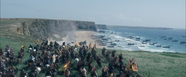 MPC created a CG armada of French ships along with the cliffs for the crucial battle.