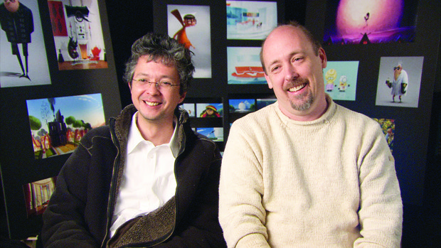 Coffin (l) and Renaud oversaw animation and story, respectively.