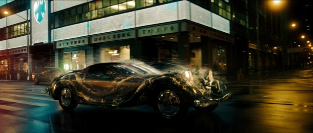 The car chase involved morphing/melting cars, numerous other CG cars, a smoke filled tunnel, morphing people, magical mirrors and exploding glass windows.