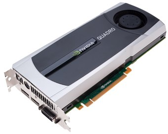 The Quadro 5000 is 4x faster and can process 950 million triangles per second. Courtesy of NVIDIA.