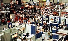 The bustling showroom floor at Comic-Con `98. Photo courtesy of Pete Nicholls.