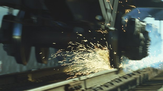 Sparks bouncing off the tracks and trestle created micro-explosions using Maya particles.