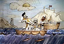 The tableaux scene from Episode One: HMS Pinafore with Gilbert, Sullivan and D'Oyly Carte dressed as characters from the Opera. Image courtesy of Barry Purves.