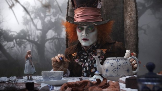 The Mad Hatter contains digitally enlarged eyes, which contrasts wonderfully with the miniaturized Alice.