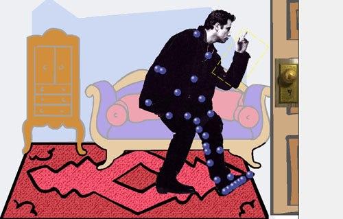 Rub Travolta's foot on the carpet. Zap!