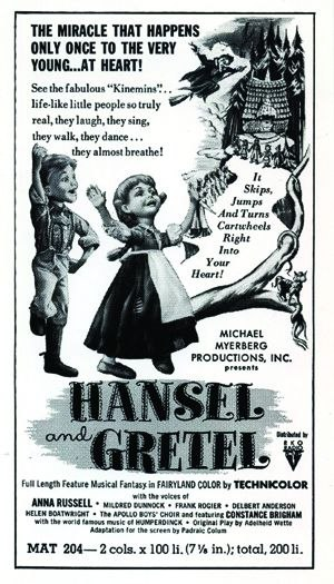[Figure 1.4] Newspaper ad for Hansel and Gretel: