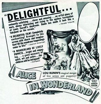 [Figure 1.6] Newspaper ad for Lou Bunin's Alice in