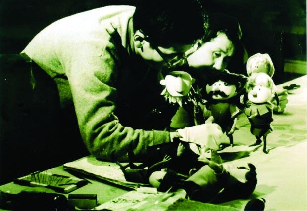 [Figure 1.8] Tad Mochinaga animates a scene from Willy McBean and His Magic Machine. (© 1965, Rankin/Bass Productions/Rick Goldschmidt Archives.)