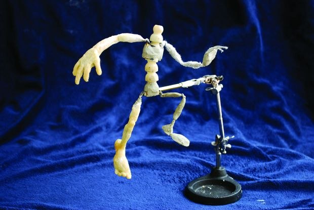 [Figure 3.16] Puppet armature on a rig for flying or jumping shots.