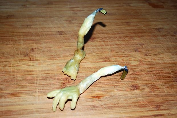 [Figure 3.32] Dried latex foot and hand parts.