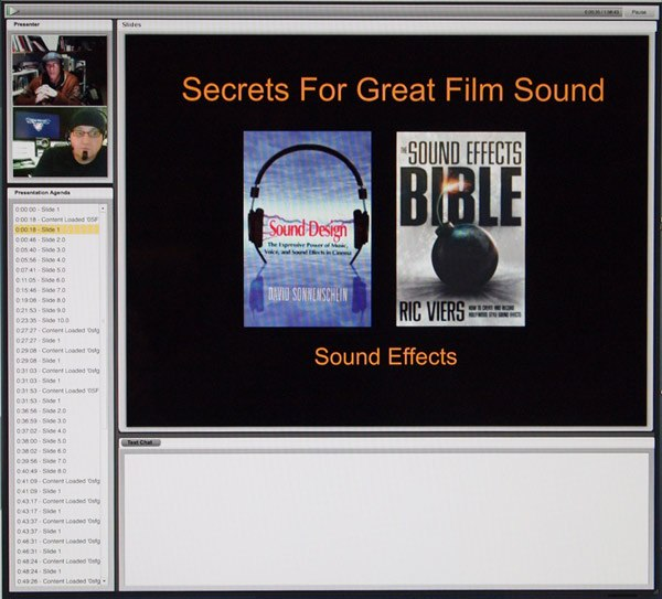 "Screen shot from ""Secrets for Great Film Sound"" webinar."