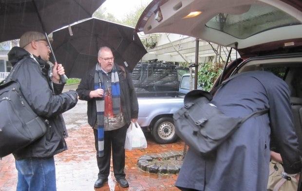 Loading the car in the rain at the Skywalker Ranch Inn. Image courtesy of Sara Diamond.