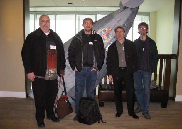 On tour at PDI/DreamWorks. From left to right - me, Max, Teddy and Geefwee.