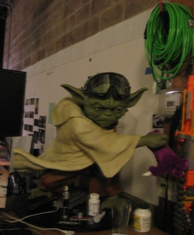 Yoda insisted on helping setup refreshments for the screening. I slipped him $5.