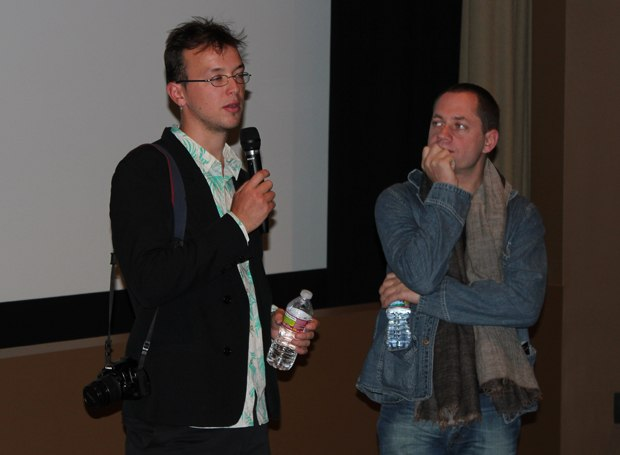 Bastien Dubois (r), with his producer Ron Dyens next to him, talks about the difficulties of working in Madagascar.