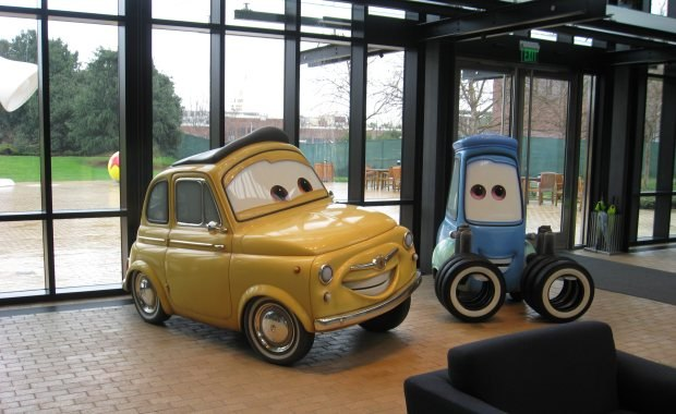 Cars are just some of the oversized movie props you see all around the studio.