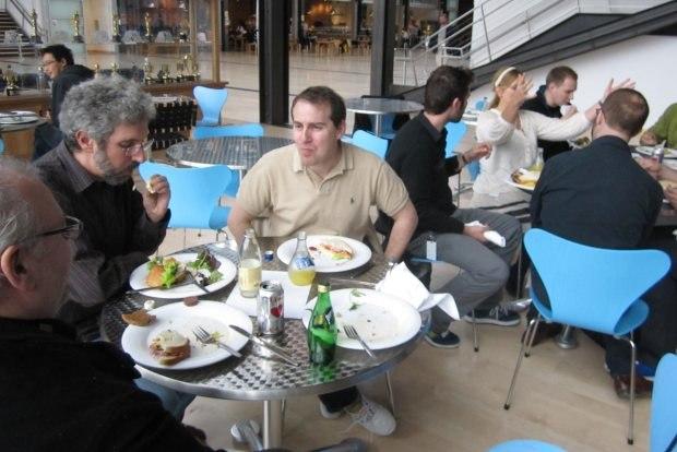 Roger Gould, Teddy and I enjoy lunch. Image courtesy of Sara Diamond.