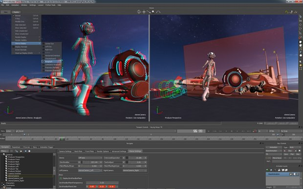 Author and view stereoscopic content in MotionBuilder 2012 with the new in-viewport stereo display and camera rig.