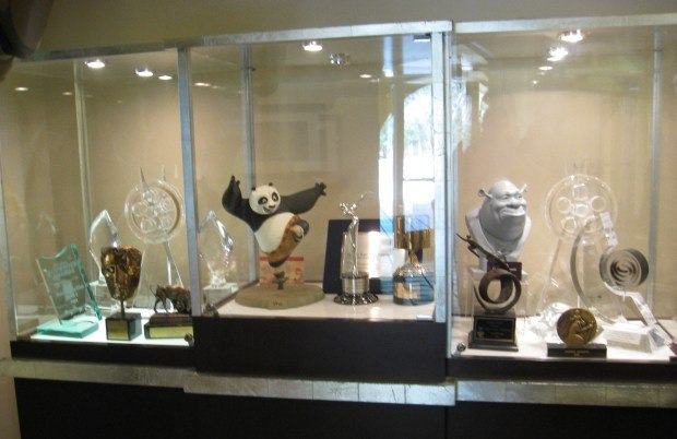 The awards case in the lobby of the Campanile Theatre.