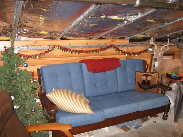 A comfy couch in the Hidden Lounge. Complete with fiberglass insulation and a 5 foot ceiling.