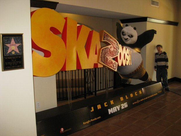 A huge Kung Fu Panda 2 display fills the Campanile Theatre lobby.