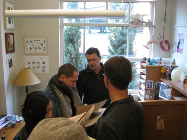 Nico shows a selection of his tremendous artwork. We totally barged in and took over his office.