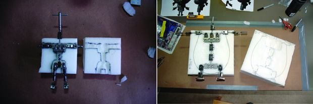 [Figure 3.39] Ava and Charlie's armatures laid over blocks of foam.