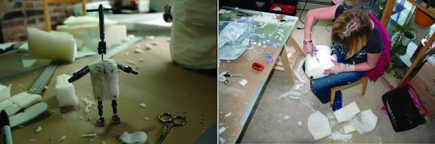 [Figure 3.41] Ava's carved foam body on the left, and Charlie in progress on the right.