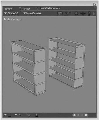 [Figure 4-5] The left bookcase has correct outward