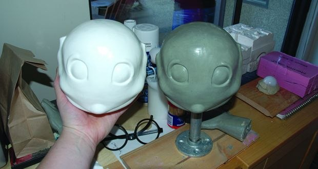 [Figure 3.81] The sculpt and final plastic cast for Charlie's head.