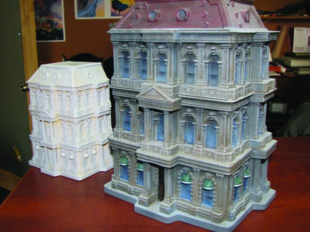 [Figure 3.114] Different scaled building models printed by a 3D printer. (Photo by Ken Priebe. Courtesy of Protodemon.)