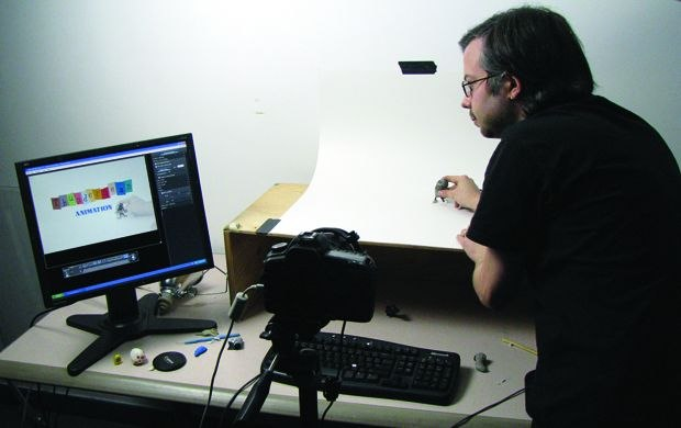 [Figure 3.121] Author Ken Priebe framing his Thunderbean animation shot. (Photo by Shawn Tilling.)