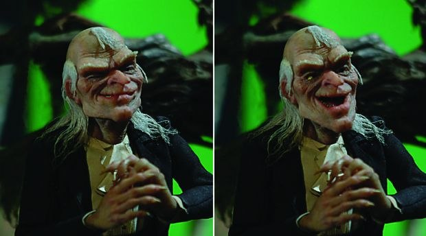 [Figure 3.86] Some images of Uncle Creepy showing the flexibility of his jaw. (Courtesy of Stephen Chiodo/New Comic Company.)