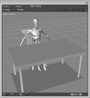 [Figure 5-5] Figure sitting at table and chair props