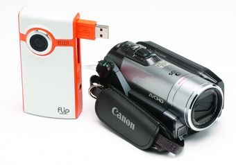 [Figure 4.3] An HD camcorder and Flip Video camera with