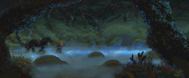 Merida takes off through the fog.