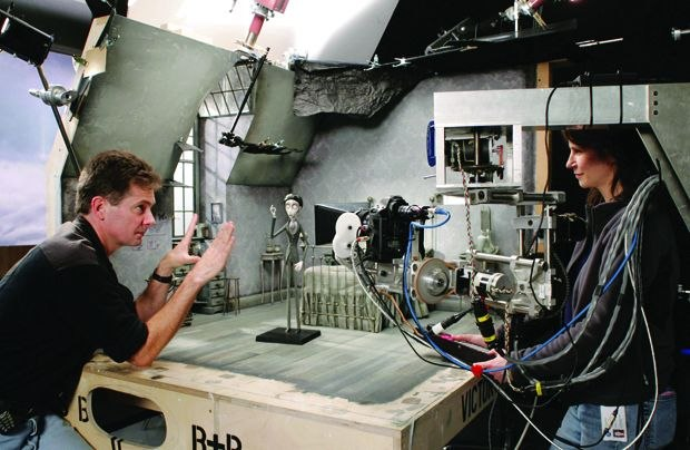 Pete Kozachik goes over a motion control shot with Caroline Wilson on Corpse Bride. (Photo by Graham Pettit/ (c) Warner Brothers Pictures)