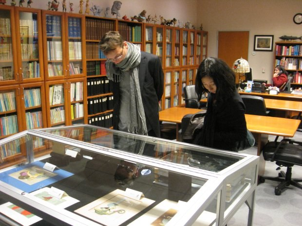 Bastien Dubois and his girlfriend Julie peruse one of the many archive displays.