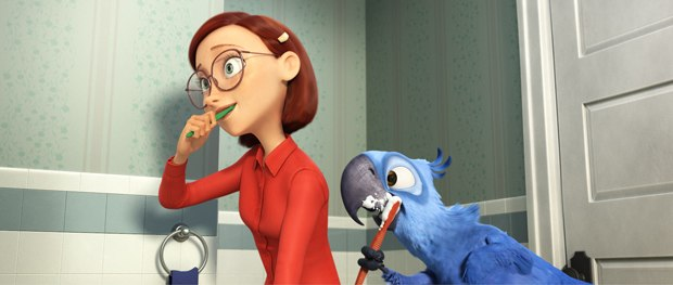 Linda represents Blue Sky's first real human and even Blu displays a human-like use of his wings.