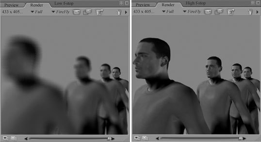[Figure 6-15] The F-stop value affects the intensity of the blur for the depth of field effect.