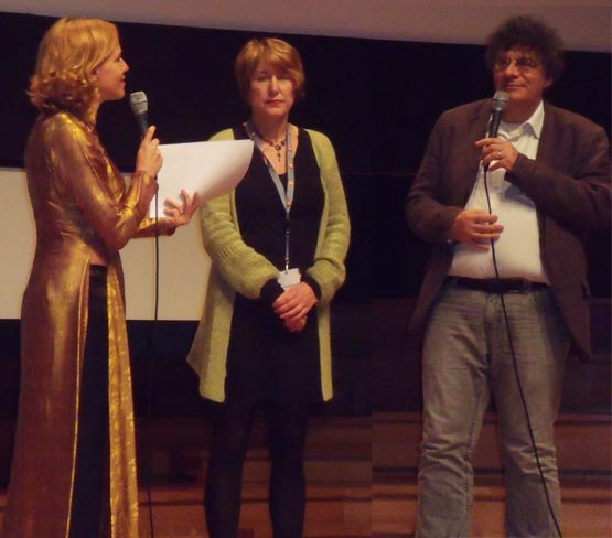 Presenter Stephanie Coerton ans festival co-directors Doris Cleven and Philippe Moins.
